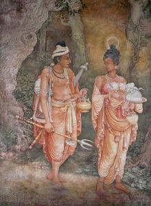 Danta e Hemamala, vestidos como peregrinos (obra de Solius Mendis)